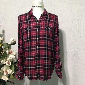 Lucky Brand Women's Plaid Shirt Red Multi